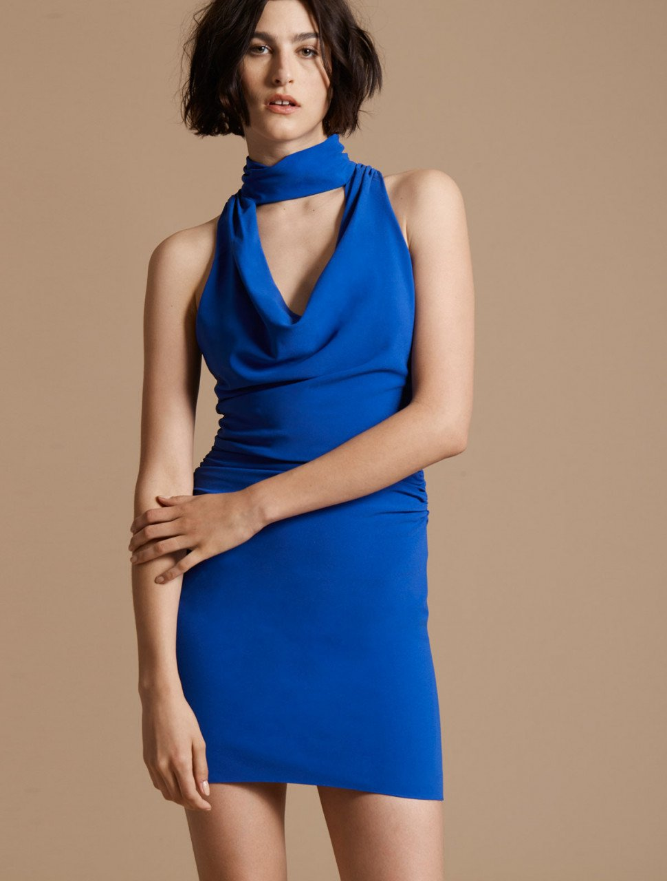 DRAPED NECK CREPE DRESS