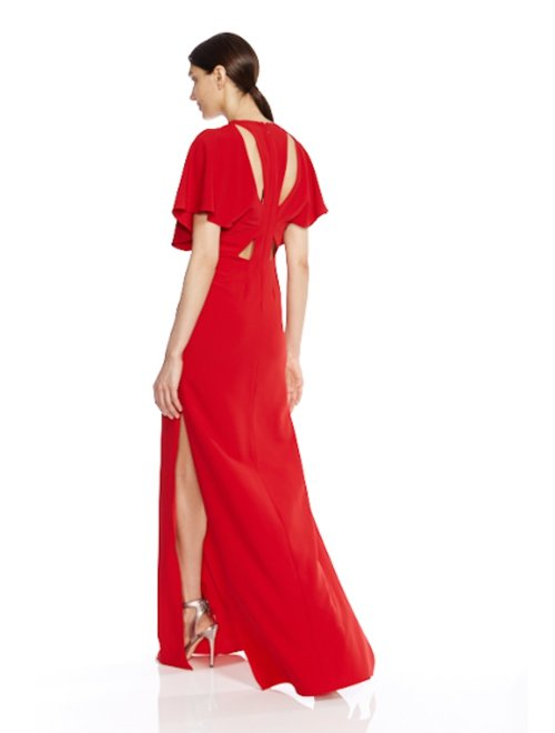 FLOWY SLV GOWN W CUT OUTS