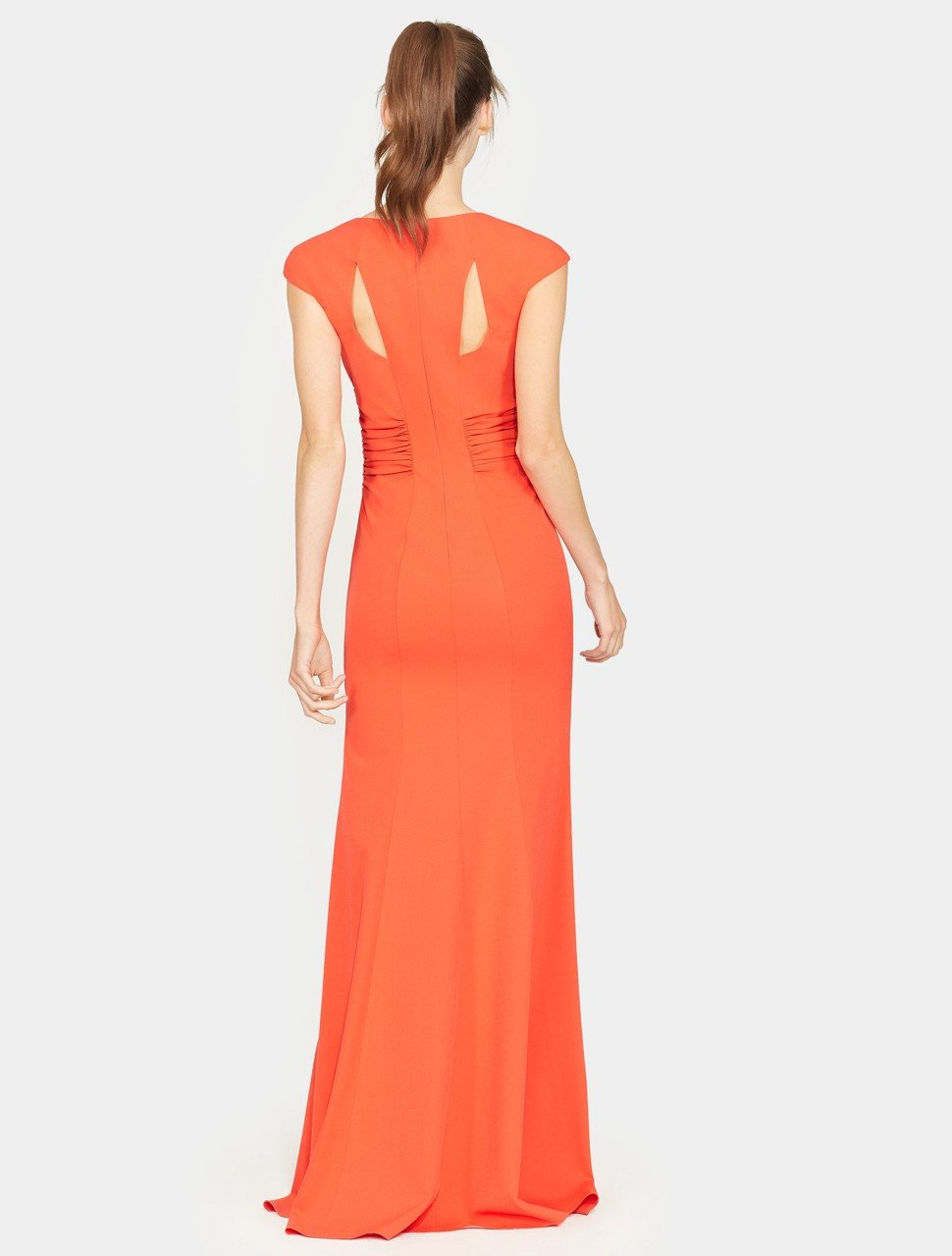 Cap Sleeve V Neck Ruched Detail Crepe Gown