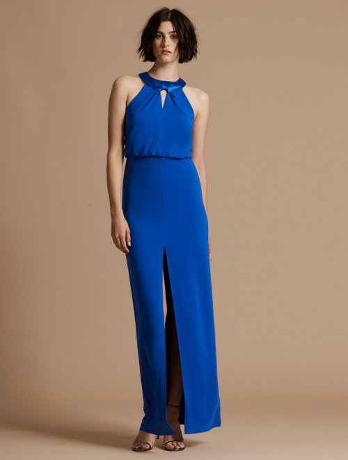 SATIN NECK CREPE GOWN WITH KEYHOLE