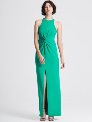 TWIST DRAPE DETAIL CREPE GOWN