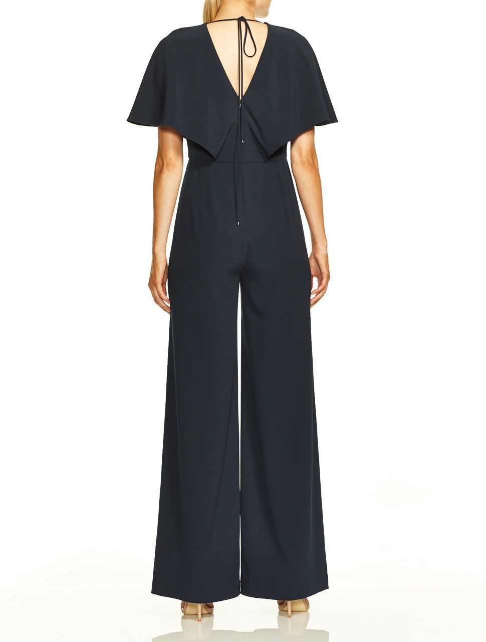 Flowy Cape Sleeve V Neck Wide Leg Jumpsuit
