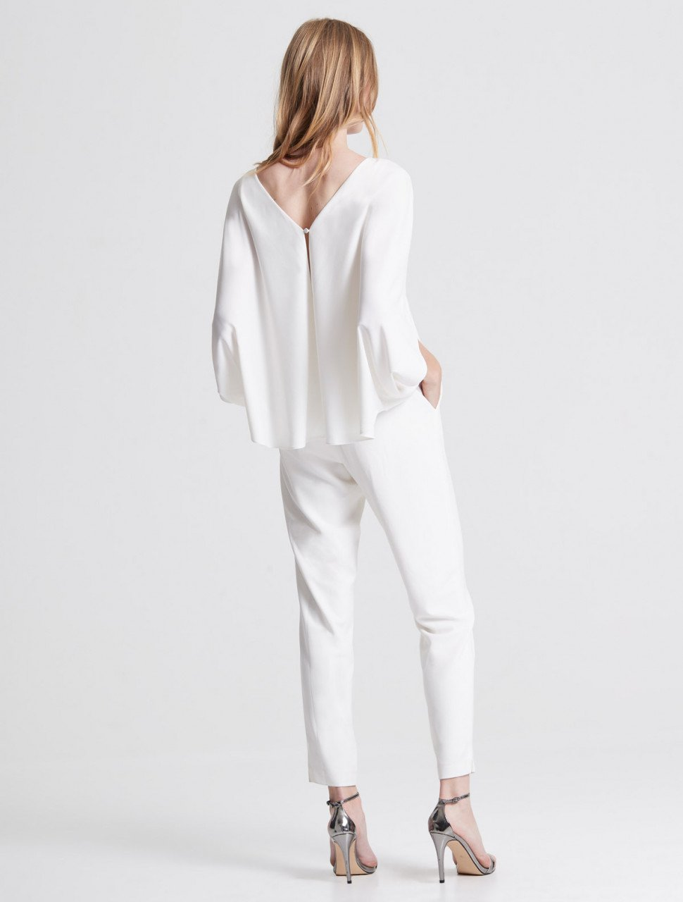 DRAPED SLEEVE TAPERED LEG CREPE JUMPSUIT