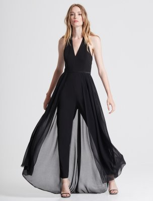 HALTER NECK CREPE JUMPSUIT WITH GEORGETTE OVERLAY
