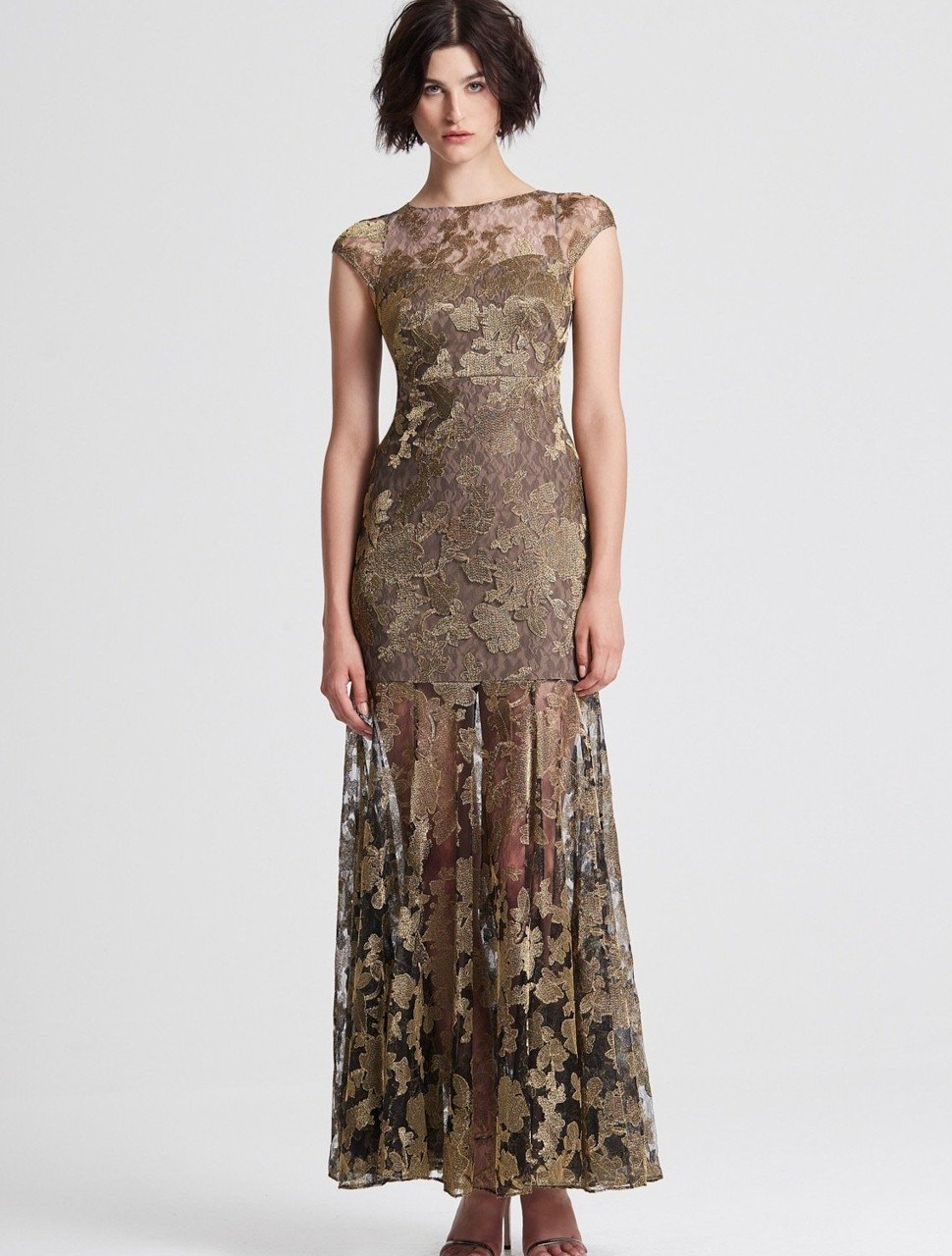 METALLIC EMBROIDERED LACE GOWN