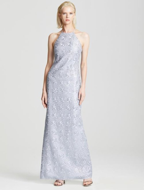 MINIMAL METALLIC EMBROIDERED GOWN