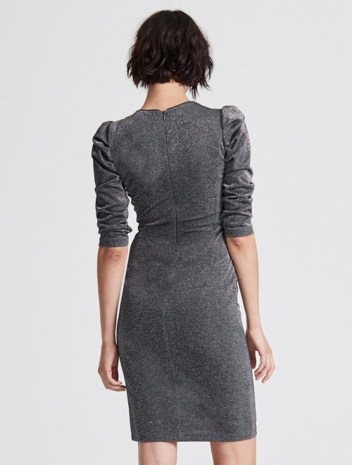 DRAPED SLEEVE SLIM METALLIC KNIT DRESS
