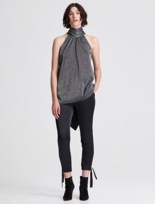 SLEEVELESS MOCK NECK METALLIC KNIT HI LO TOP