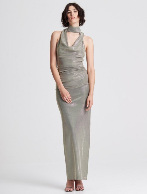 DRAPED NECK METALLIC KNIT GOWN