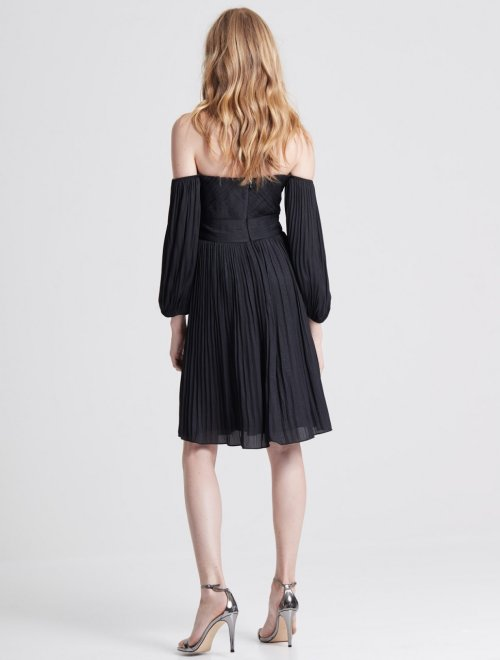 OFF SHOULDER PLEATED FOILED DRESS