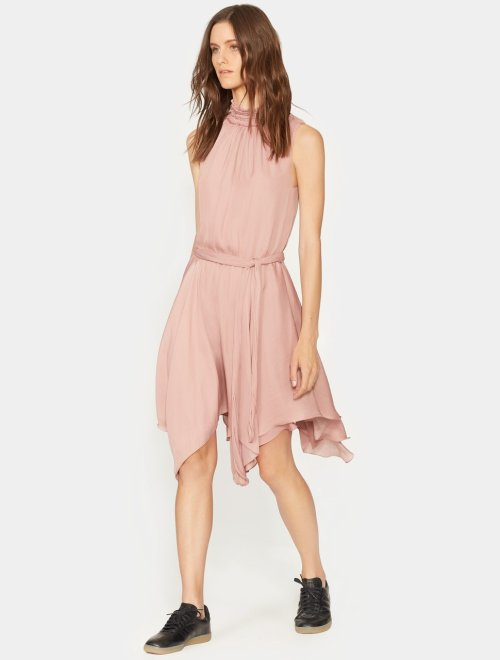 SLEEVELESS RUFFLE SMOCKED MOCK NECK FLOWY DRESS