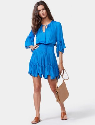 FLOWY SLEEVE SMOCKED WAIST DRESS