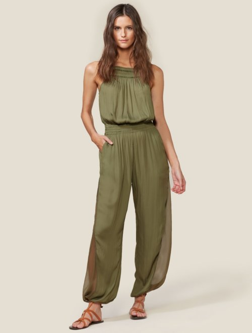 JUMPSUIT WITH SHEER SIDE PANELS