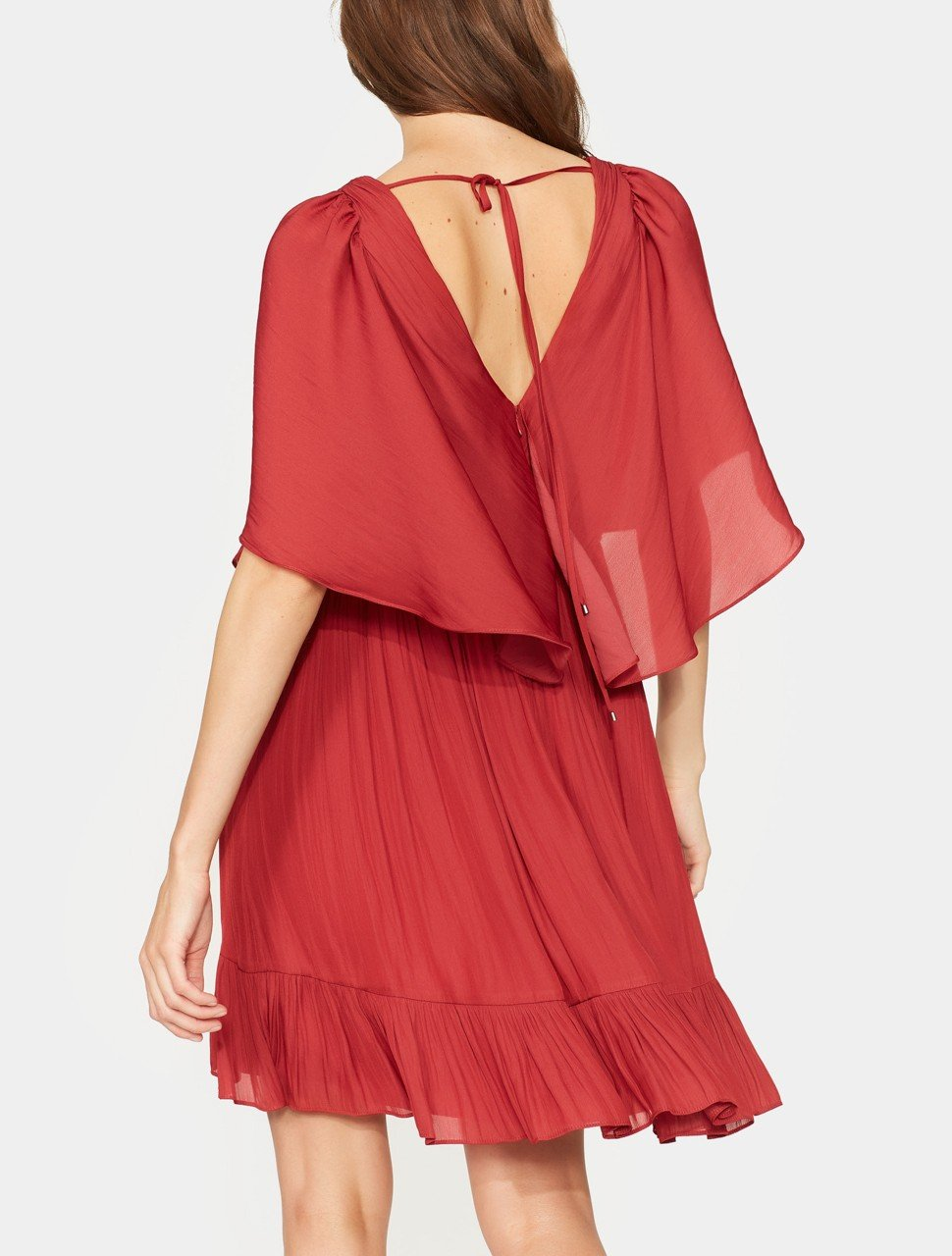 FLOWY CAPE SLEEVE V NECK PLEATED DRESS