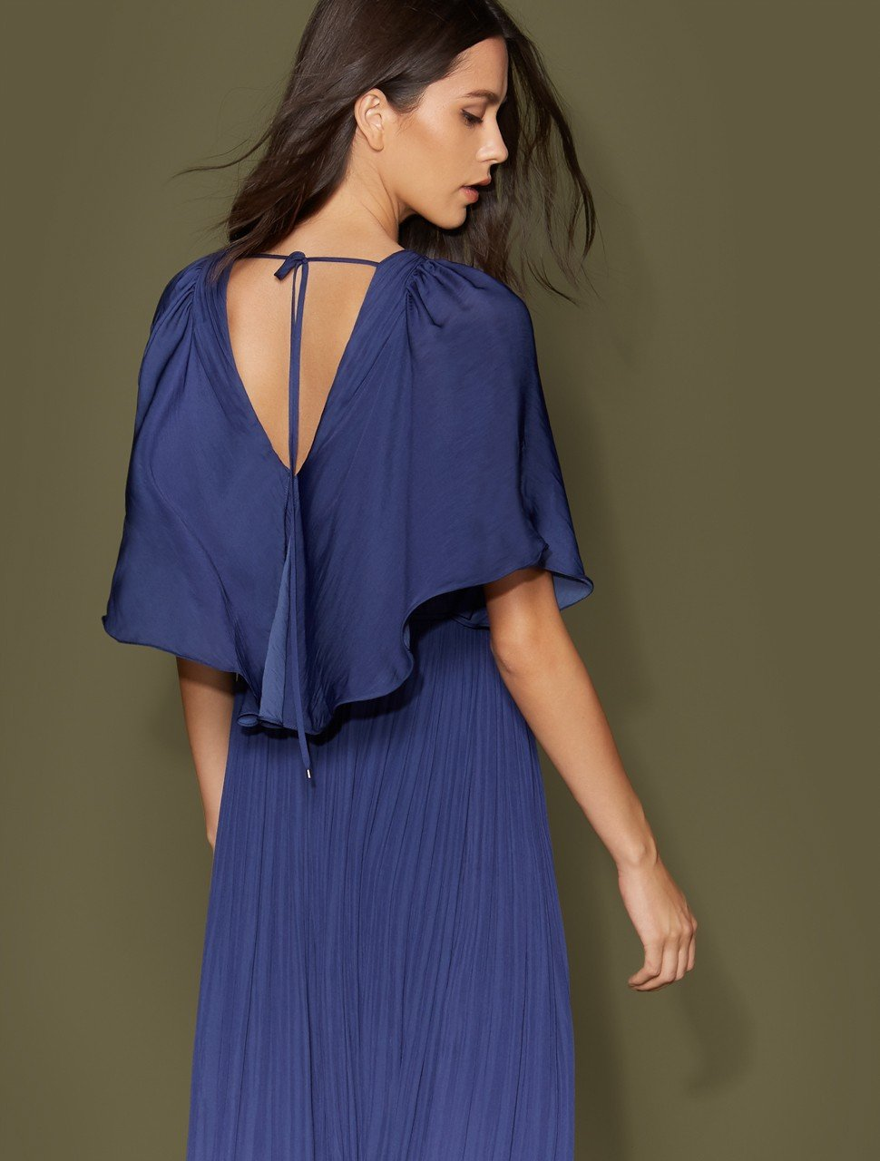 Cape Sleeve V Neck Flowy