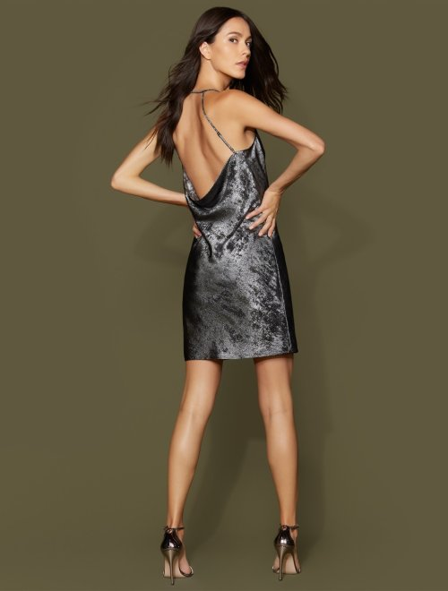 Sleeveless Cowl Neck Metallic Georgette Slip Dress