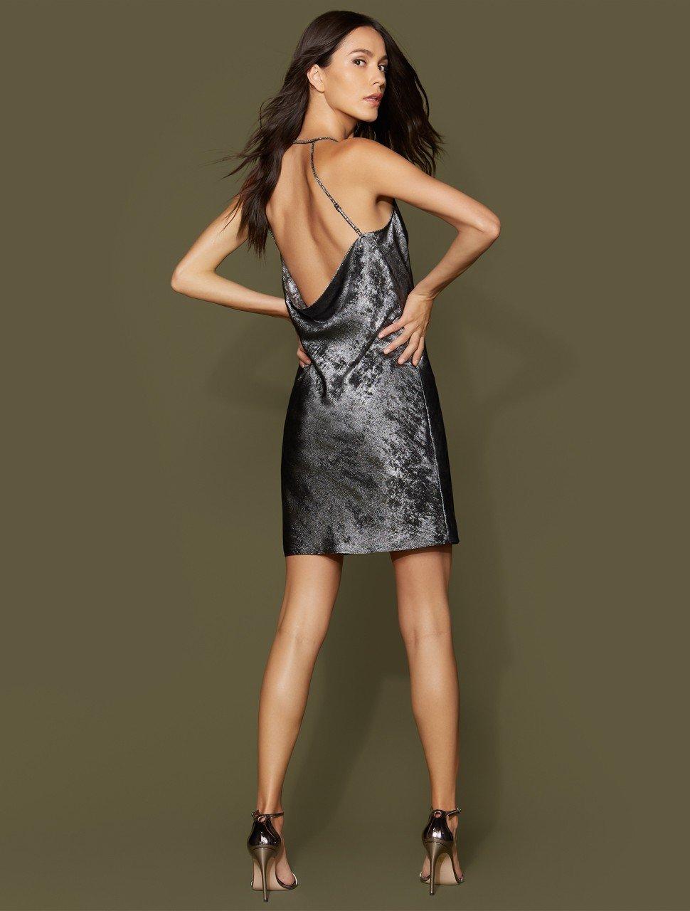 Sleeveless Cowl Neck Metallic Georgette Slip Dress