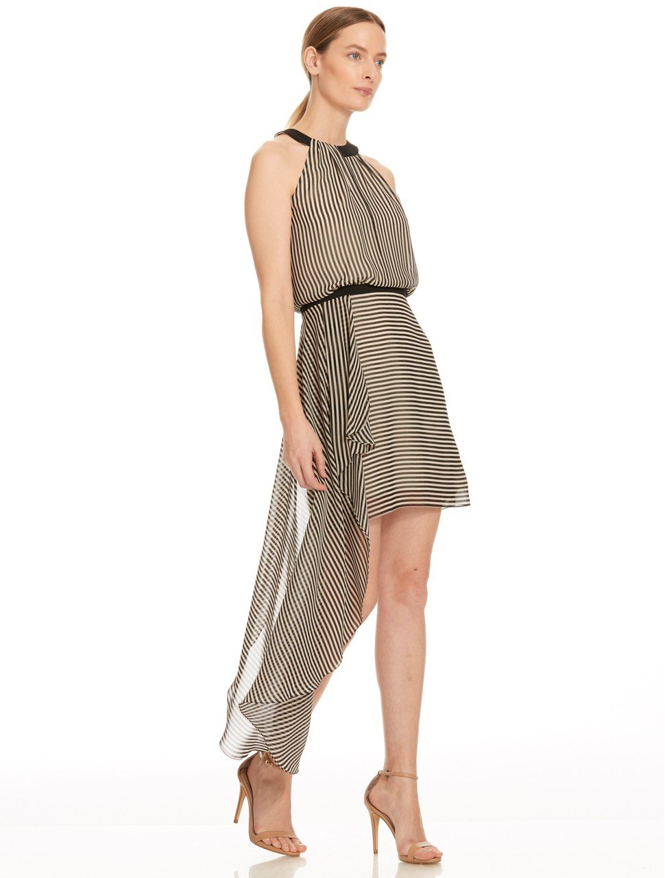 SLEEVELESS HIGH NECK ASYMMETRIC DRAPE DRESS