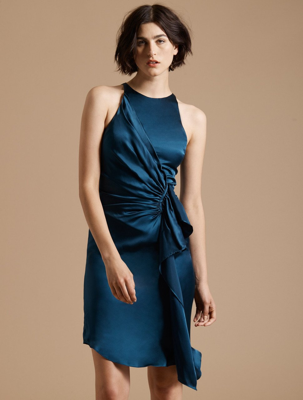 SLEEVELESS DRAPED FRONT SATIN DRESS