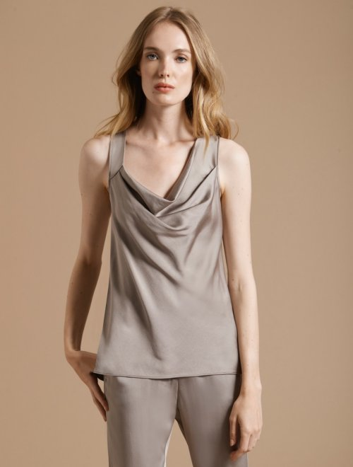ASYMMETRIC COWL SATIN TOP