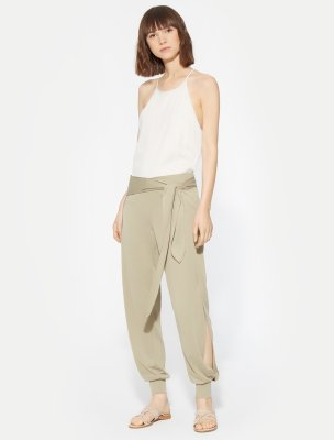 FLOWY TAPERED TIE WAIST JERSEY PANT