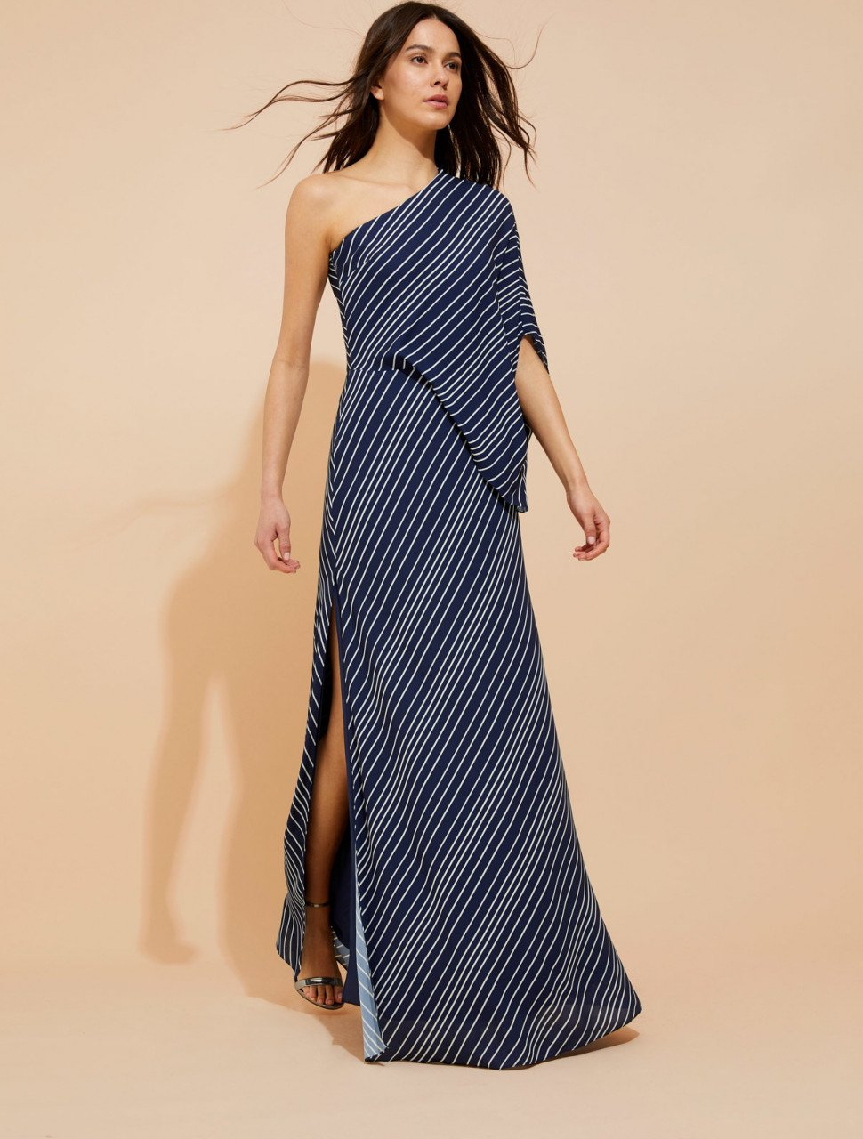 ASYMMETRIC ICONIC STRIPE PRINTED GOWN