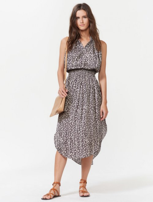 SLEEVELESS SMOCKED WAIST MIDI DRESS