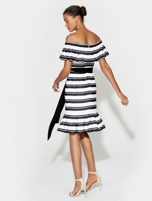 OFF SHLDR FLOUNCE SLV STRIPED DRESS