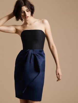 BOW DRAPE BONDED SATIN DRESS