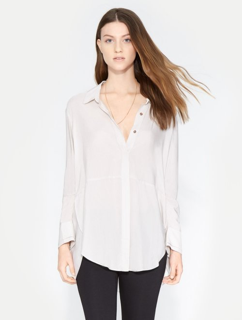 LONG RUCHED SLEEVE STRIPED SHIRT