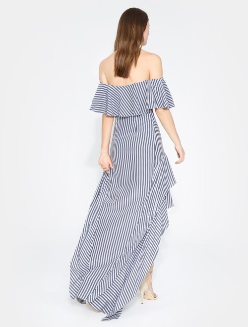 OFF SHOULDER HIGH LOW FLOUNCE STRIPED GOWN