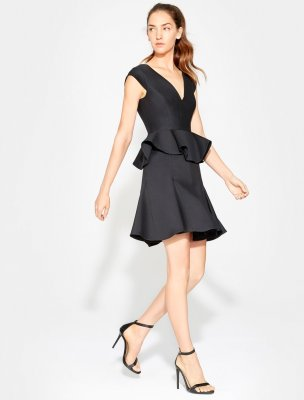CAP SLV V NECK DRESS W PEPLUM