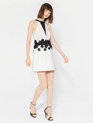 SLEEVELESS ROUND NECK DRESS WITH FLORAL EMBROIDERY