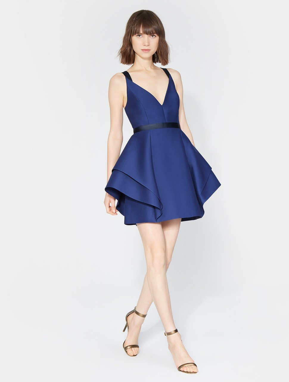 SLEEVELESS V NECK DRAMATIC FLOUNCE SKIRT DRESS