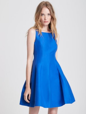 FIT AND FLARE SILK FAILLE DRESS