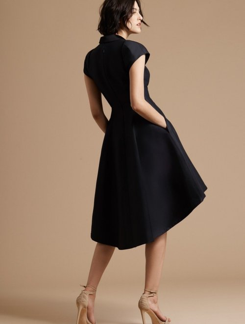 TUXEDO SILK FAILLE DRESS