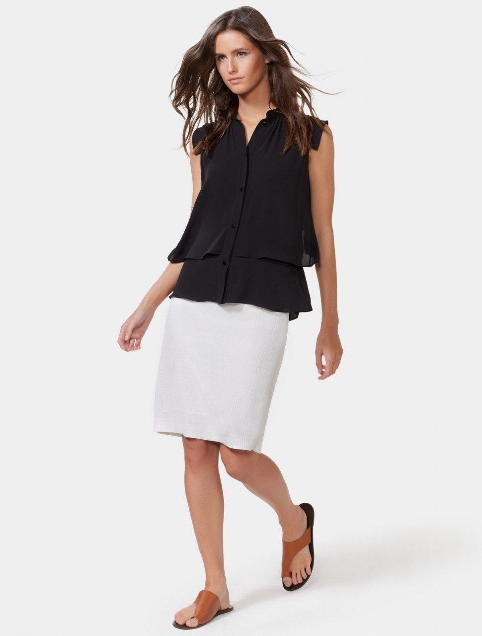 LAYERED TOP WITH PINTUCKING DETAIL