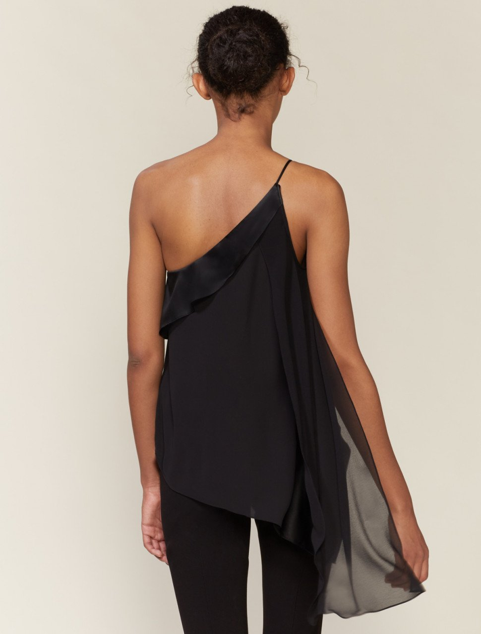 ONE SHOULDER SATIN DRAPED TOP