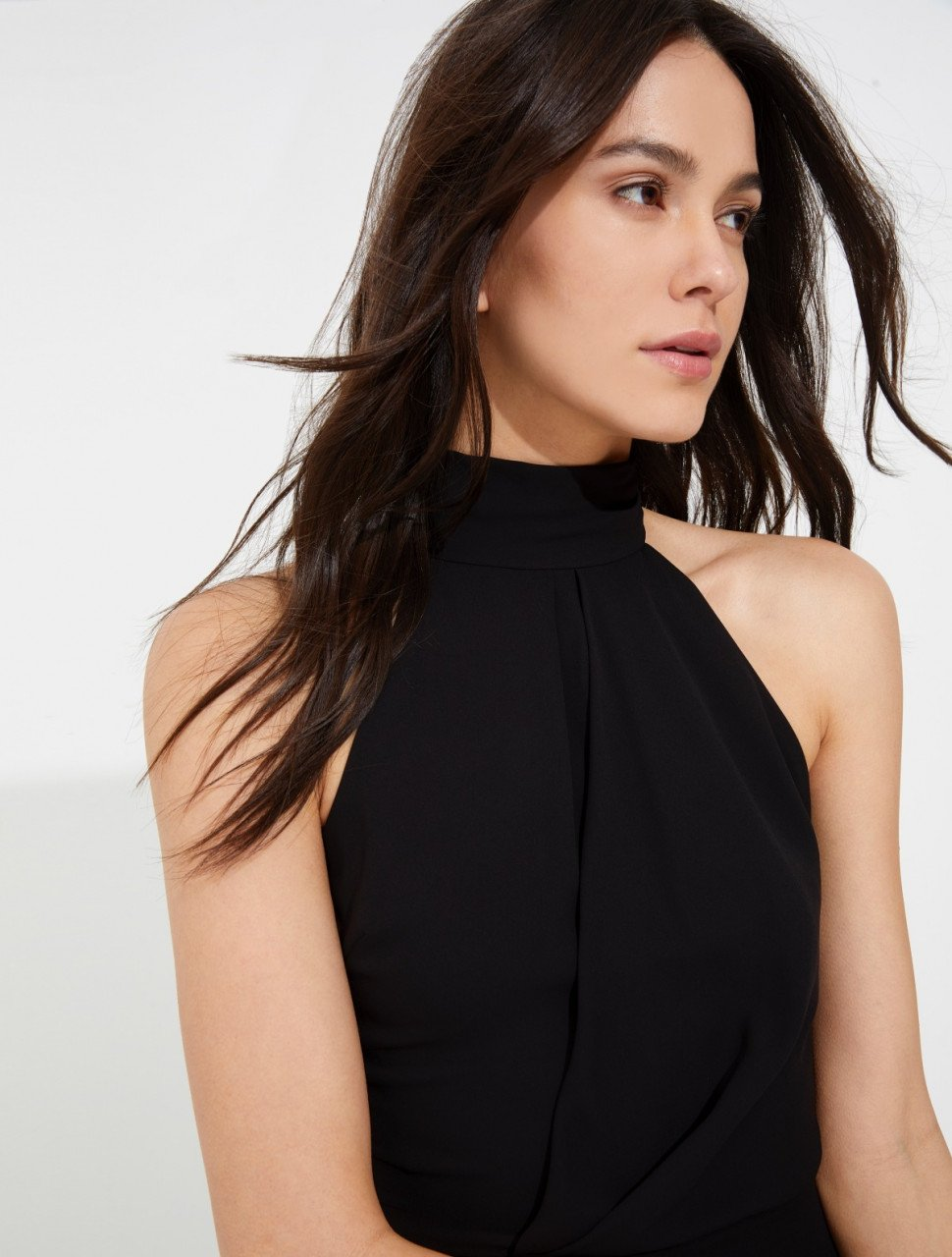 MOCKED NECK DRAPED SILKY GEORGETTE TOP