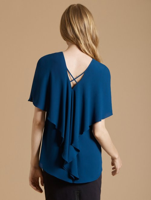 CAPE SLEEVE DRAPE BACK TOP