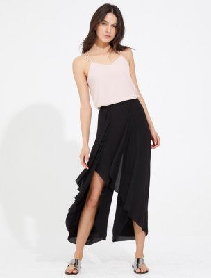 DRAPED FLOWING SILKY GEORGETTE PANTS
