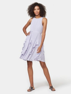 PLEATED DRESS WITH FLOUNCE HEM