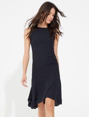 RUCHED BACK ZIPPER DETAIL FLOWY DRESS