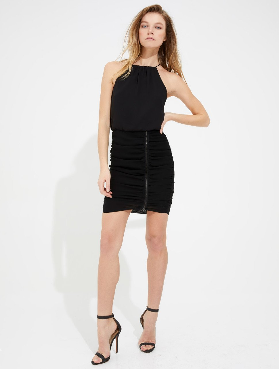 RUCHED SKIRT ZIPPER DETAIL CAMI DRESS