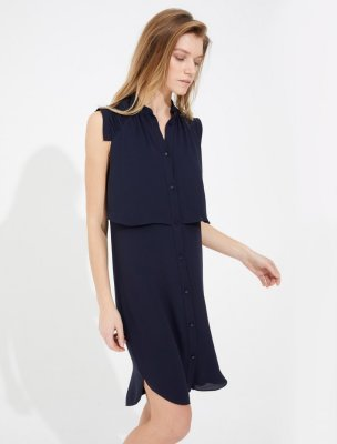 PLEATED DETAIL SILKY GEORGETTE SHIRTDRESS