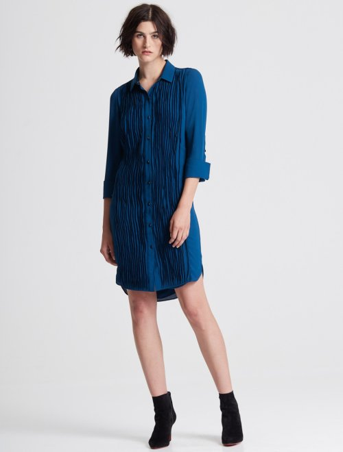 LONG SLEEVE PLEATED FRONT SHIRTDRESS