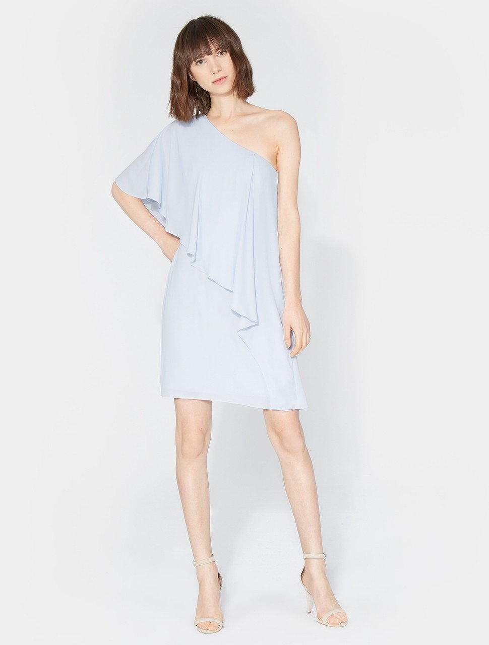 ONE SHOULDER FLOWY DRAPE FRONT DRESS