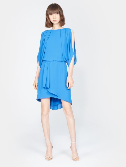 CAPE SLEEVE DRAPED OPEN BACK DRESS