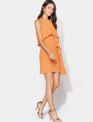 Sleeveless High Neck Dress with Drape Overlay