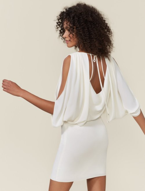 DRAPE BACK CAPE DRESS